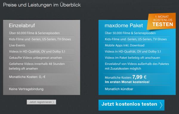 maxdome gekaufte videos
